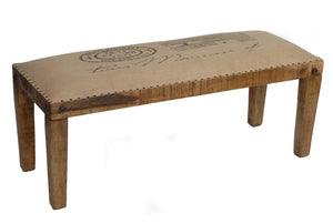 Bengal Manor Mango Wood Burlap Bench - The Rustic Furniture Store