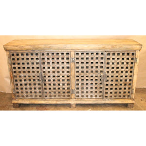 Bengal Manor Metal Lattice Work and Mango Wood Sideboard - The Rustic Furniture Store