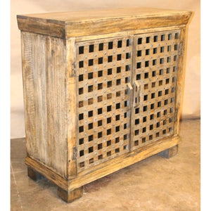 Bengal Manor Metal Lattice Work and Mango Wood Cabinet - The Rustic Furniture Store