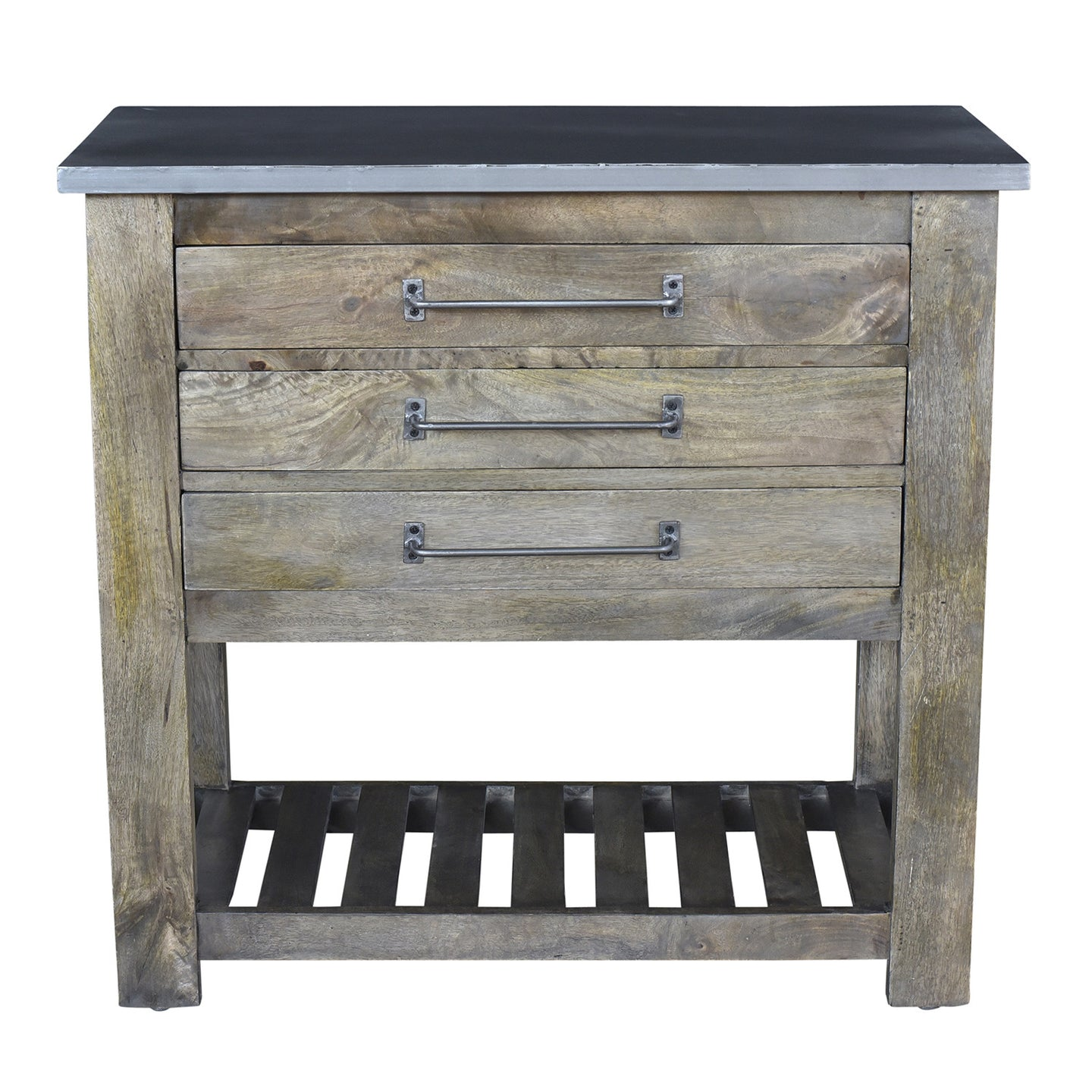 Bengal Manor Mango Wood 3 Drawer Charcoal Grey Chest W/ Metal Top By Crestview Collection Cvfnr326