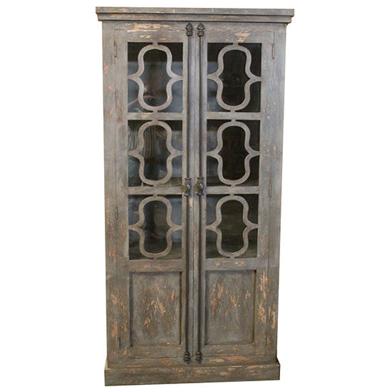 Bengal Manor Mango Wood Tall 2 Glass Door Distressed Grey Curio By Crestview Collection Cvfnr329