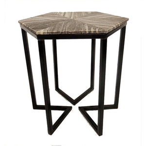 Bengal Manor Shaped Iron Base Hexagon Accent Table With Patterned Marble Top By Crestview Collection Cvfnr345