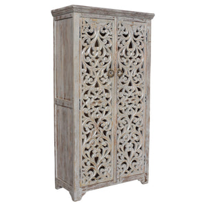 Bengal Manor Mango Wood Hand Carved Open Design 2 Door Tall Cabinet By Crestview Collection Cvfnr353
