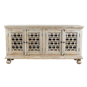Bengal Manor Mango Wood Aged Ash 4 Door Carved Sideboard By Crestview Collection Cvfnr358