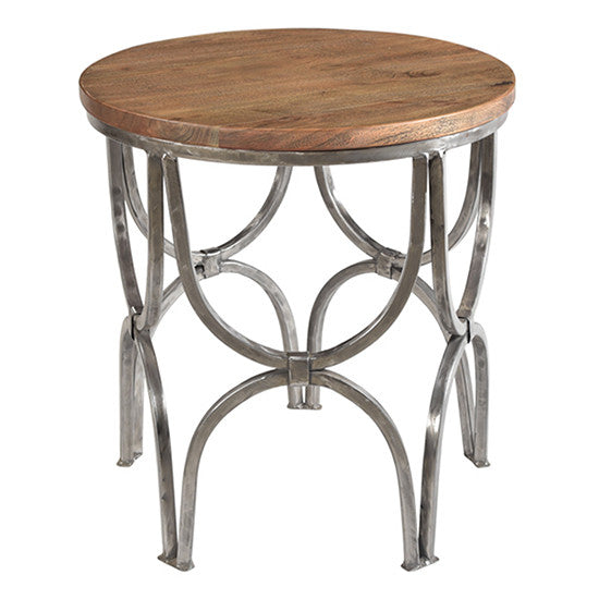 Bengal Manor Mango Wood And Steel Round End Table By Crestview Collection Cvfnr364
