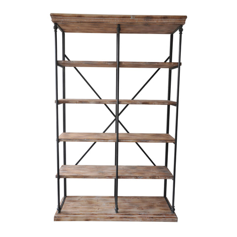 La Salle Metal and Wood Bookshelf - The Rustic Furniture Store