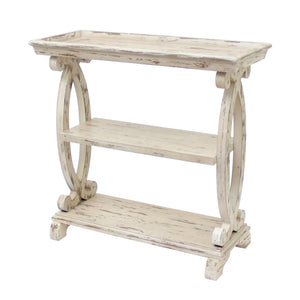 Newport Distressed White Shaped Console Table - The Rustic Furniture Store