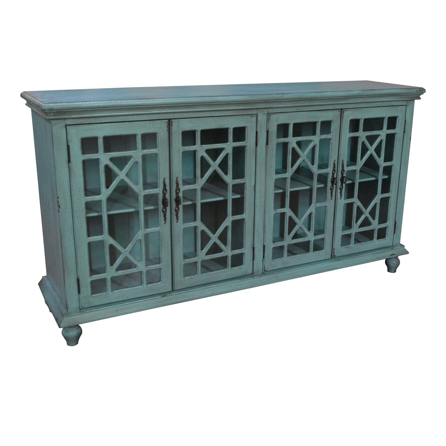 Mendenhall 4 Geometric Glass Door Textured Teal Sideboard - The Rustic Furniture Store