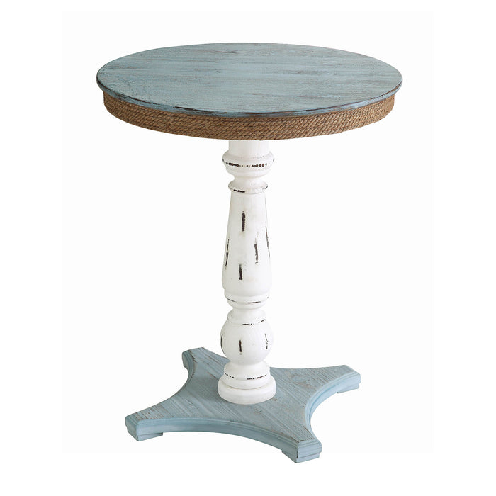 Sea Isle Two Tone Rustic Coastal Wood and Rope Apron Accent Table - The Rustic Furniture Store