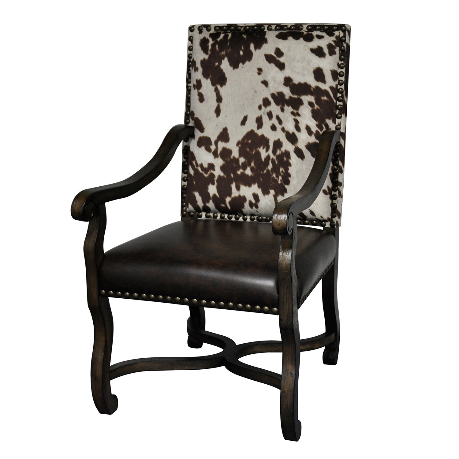 Rustic Ranch Furniture: Mesquite Ranch Leather And Faux Cowhide Armchair Cvfzr1791
