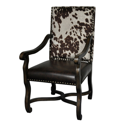 Mesquite Ranch Leather and Faux Cowhide Armchair - The Rustic Furniture Store