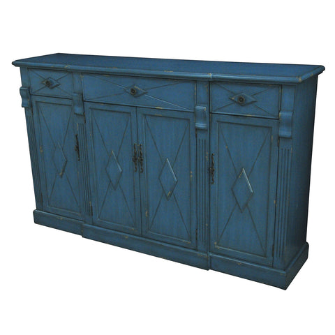 Everett 3 Drawer / 4 Door Breakfront Royal Blue Wood Sideboard - The Rustic Furniture Store