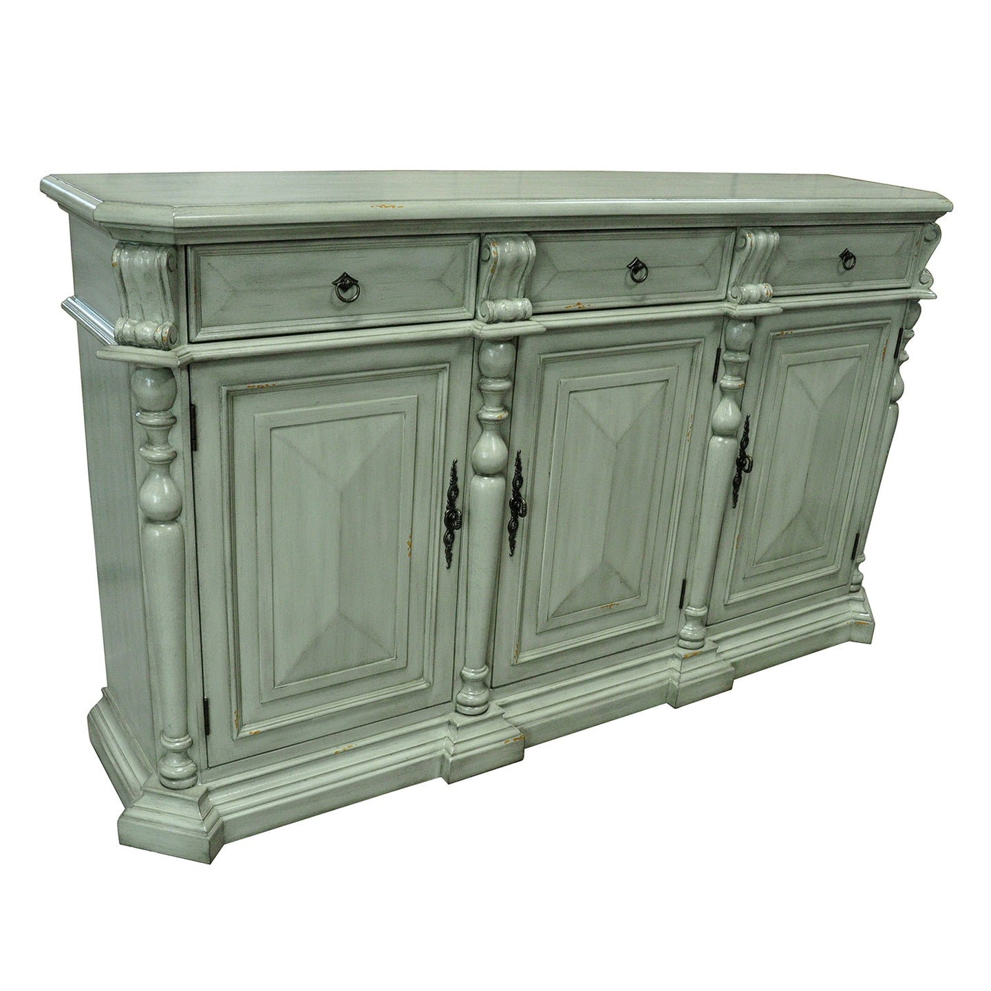 Sterling 3 Drawer / 3 Door British Grey Sideboard - The Rustic Furniture Store