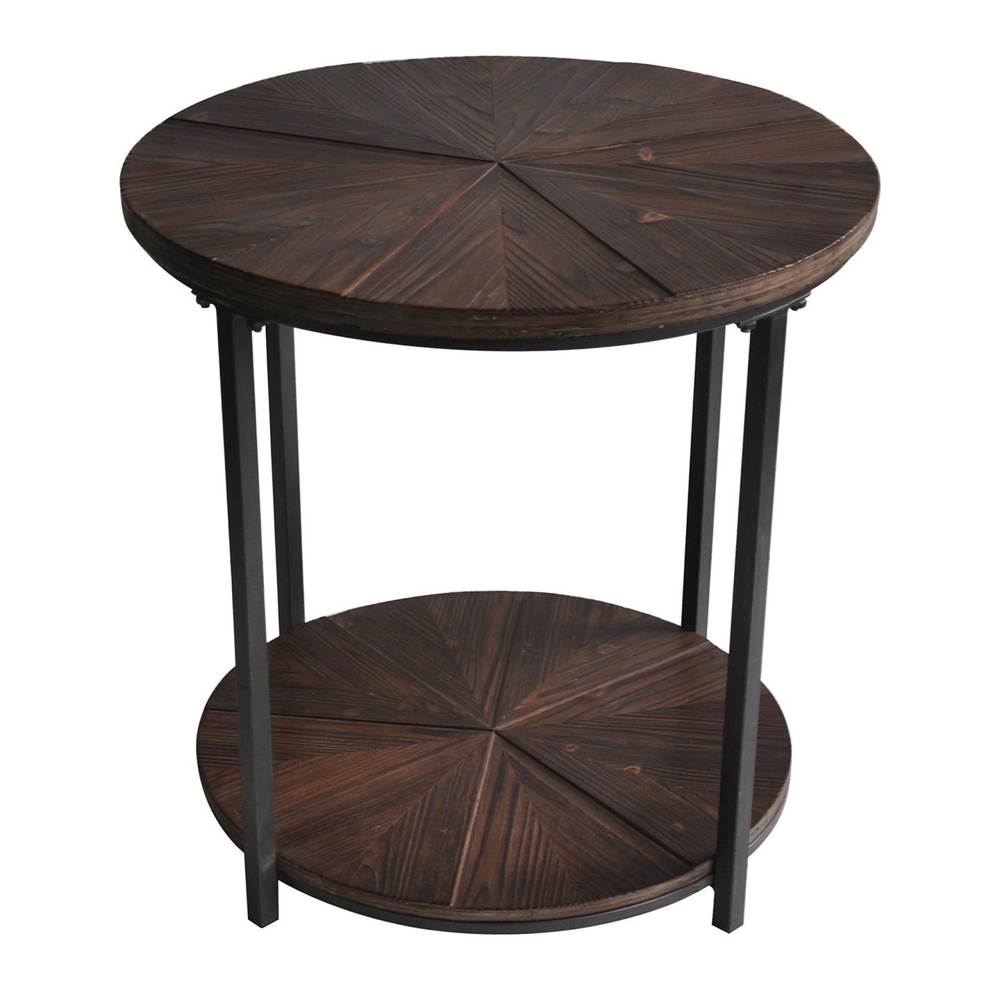 Jackson Round Metal and Rustic Wood End Table - The Rustic Furniture Store