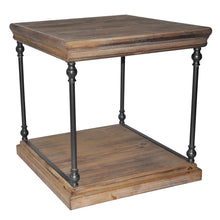 La Salle Metal and Wood End Table - The Rustic Furniture Store