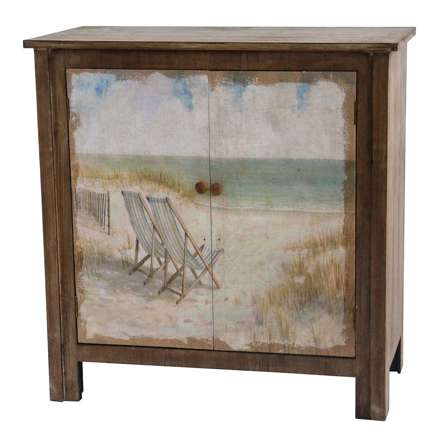 Gulf Breeze Rustic Wood Painted Canvas Beach Scene 2 Door Cabinet - The Rustic Furniture Store