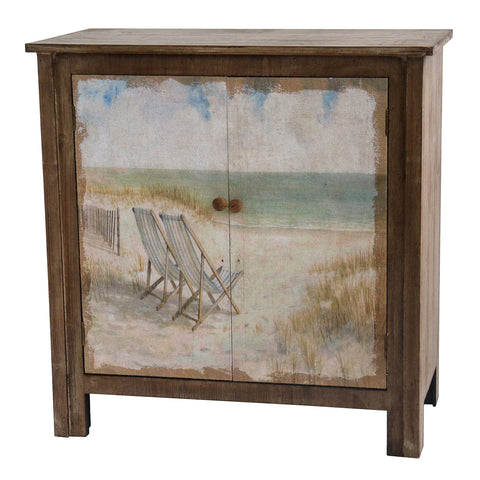 Gulf Breeze Rustic Wood Painted Canvas Beach Scene 2 Door Cabinet By C The Rustic Furniture Store