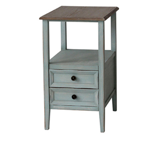 Bethany 2 Drawer Sea Mist Chairside W/ Wood Top By Crestview Collection Cvfzr1928
