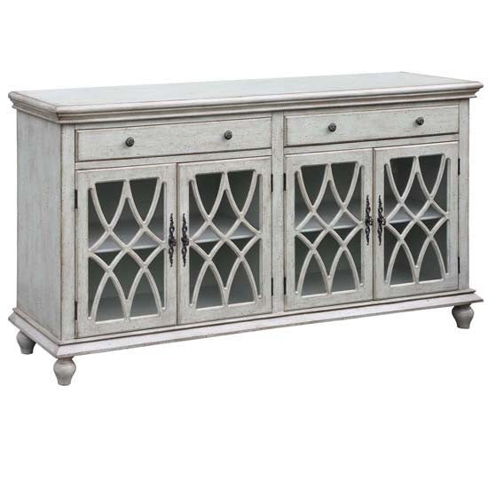 Paxton 2 Drawer / 4 Geometric Glass Door Textured Pale Grey Sideboard By Crestview Collection Cvfzr2175