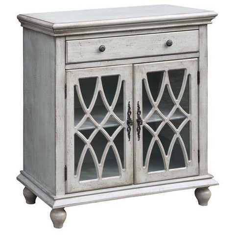 Paxton 1 Drawer / 2 Geometric Glass Door Textured Pale Grey Cabinet by Crestview Collection CVFZR2176