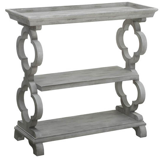 Chelsea Tray Top Grey Quatrefoil Console Table By Crestview Collection Cvfzr2238