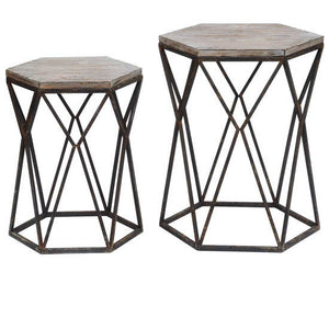 Buena Vista Rustic Metal And Wood Of Tables By Crestview Collection Cvfzr2254
