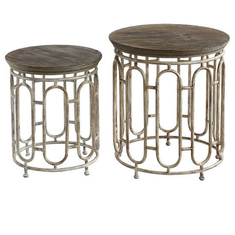 Allyson Textured Metal and Wood Set of Tables By Crestview Collection SKU CVFZR2275
