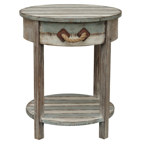 Nantucket 1 Drawer Weathered Wood Accent Table - The Rustic Furniture Store