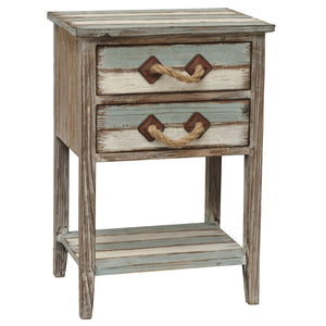 Nantucket 2 Drawer Weathered Wood Accent Table - The Rustic Furniture Store