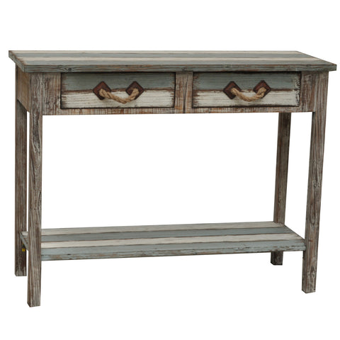 Nantucket 2 Drawer Weathered Wood Console - The Rustic Furniture Store