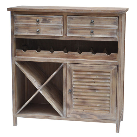 Jackson 2 Drawer Weathered Oak Wine Cabinet - The Rustic Furniture Store