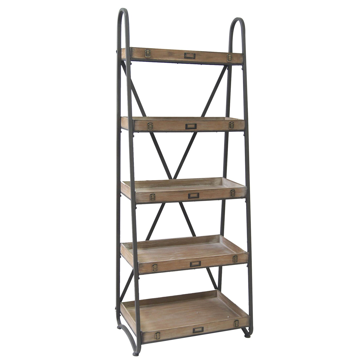 voyager metal and wood tiered etagere by crestview collection cvfzr867 the rustic furniture store. Black Bedroom Furniture Sets. Home Design Ideas