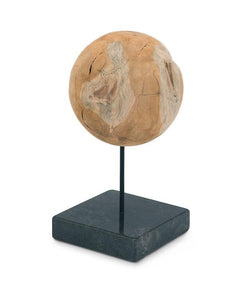 Round Teak Ball On Black Marble Base Large
