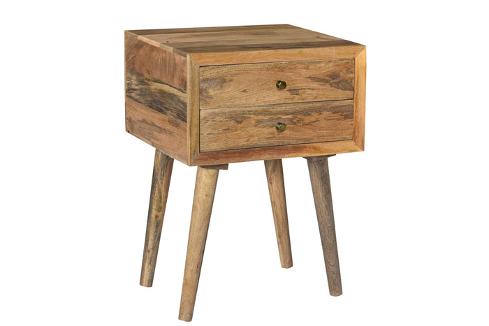 Bengal Manor Natural Mango Wood 2 Drawer Accent Table
