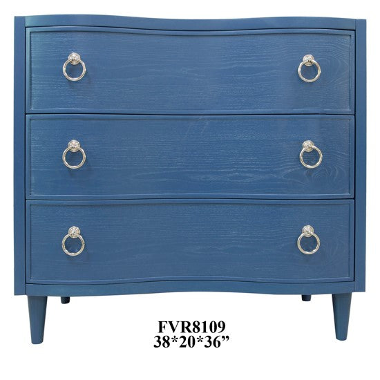 Hawthorne Estate 3 Curved Drawer Postman Blue Oak Chest