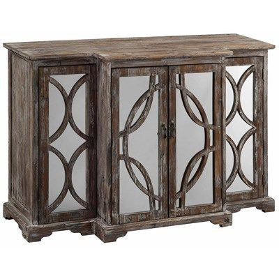 Galloway 4 Door Rustic Wood And Mirror Sideboard By Crestview Collection Cvfzr1236