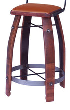 "Wine Barrel Stool 28"" Tan Leather W/ Back by 2 Day Designs 169T28"