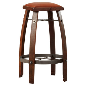 "Reclaime Wine Barrel 24"" Stave Stool w/ Tan Leather Seat 2 Day Designs 818T24"