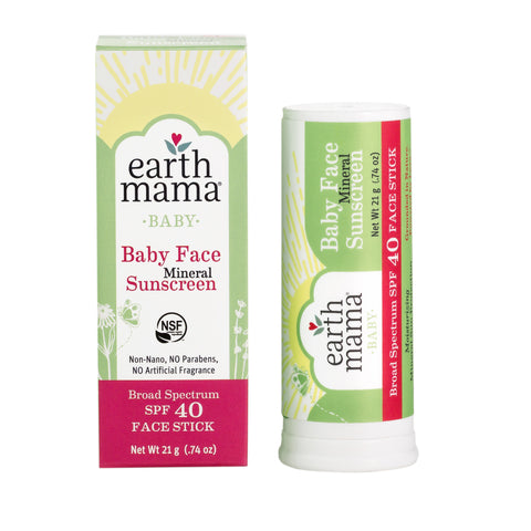 Earth Mama Baby Face Mineral Sunscreen Stick SPF 40