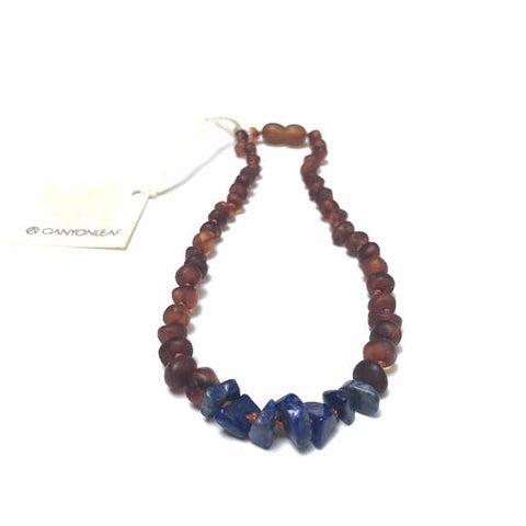 Canyon Leaf Baltic Amber + Lapis Necklace (Youth's Sizes)