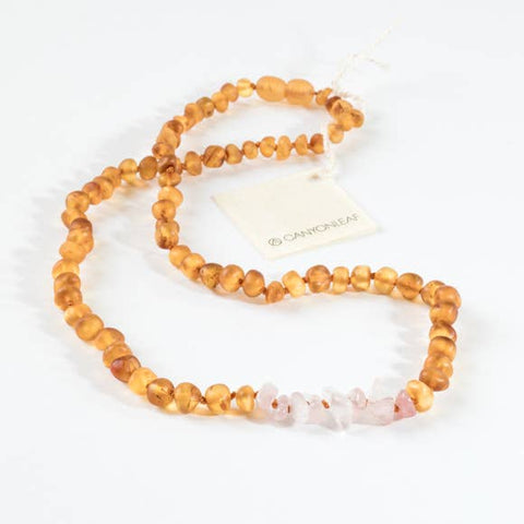 Canyon Leaf Baltic Amber + Rose Quartz Necklace (Adult's Sizes)