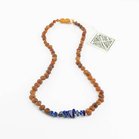 Canyon Leaf Baltic Amber + Lapis Necklace (Adult's Sizes)