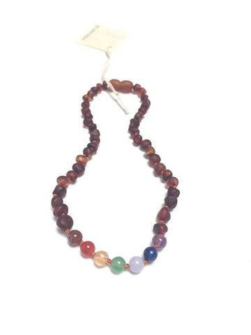 Canyon Leaf Baltic Amber + Chakra Crystals Necklace (Youth's Sizes)