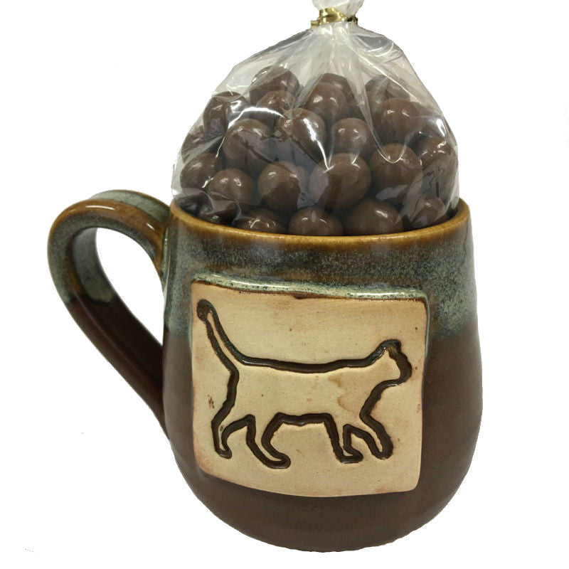 Cat Handmade Mug- Filled with Choc. Covered Coffee Beans