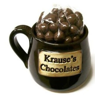 Krause's Chocolates Handmade Mug- Filled with Choc. Covered Coffee Beans