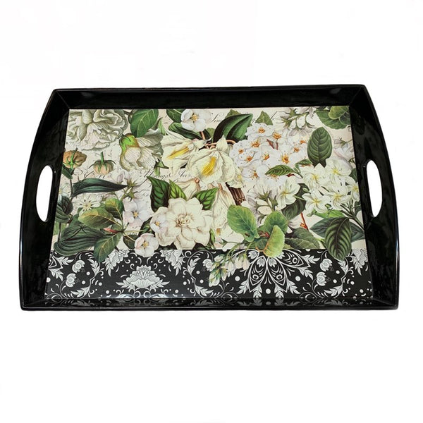 Black w/ White Flowers Wooden Tray