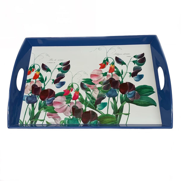 Blue Flowers Wooden Tray