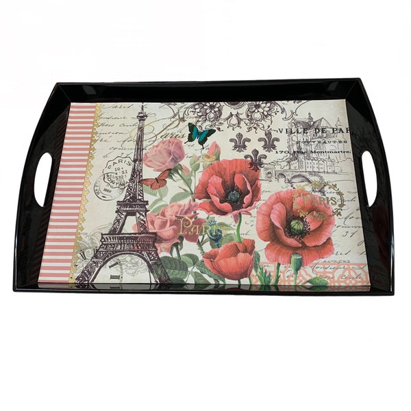 Paris & Poppies Wooden Tray
