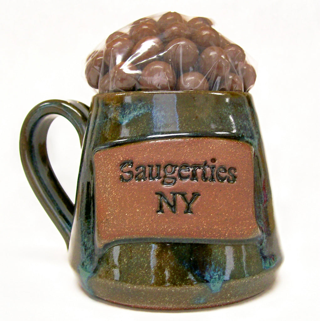 Saugerties Handmade Mug - Filled With Choc. Covered Coffee Beans