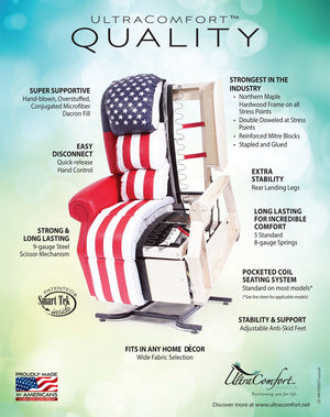 UC550-M26 Heavy Duty Zero Gravity Lift Chair Recliner with Comfort Coil Seating